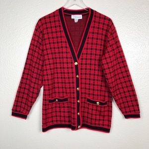 Vintage red and black plaid cardigan sweater